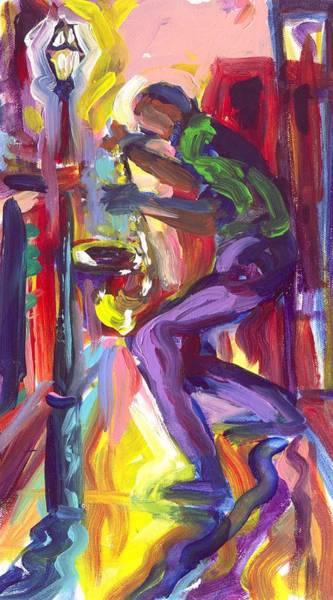 Wall Art - Painting - Dancing With My Saxophone by Saundra Bolen Samuel
