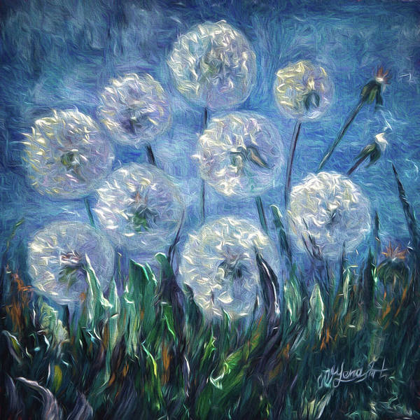 Painting - Dandelion Abstract by OLena Art - Lena Owens