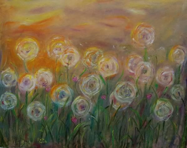 Dandilions Painting - Dandelion Field  by Rosemen Elsayad