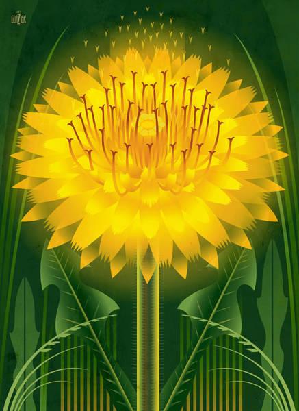 Native Garden Wall Art - Painting - Dandelion Floral Art by Garth Glazier