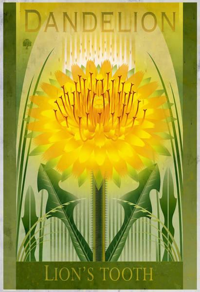 Native Garden Wall Art - Painting - Dandelion Floral Poster Variant  by Garth Glazier
