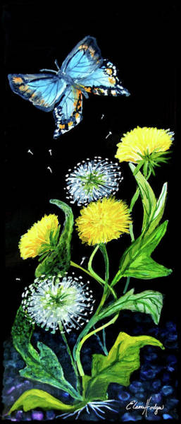 Wall Art - Painting - Dandelions And Butterfly by Elaine Hodges