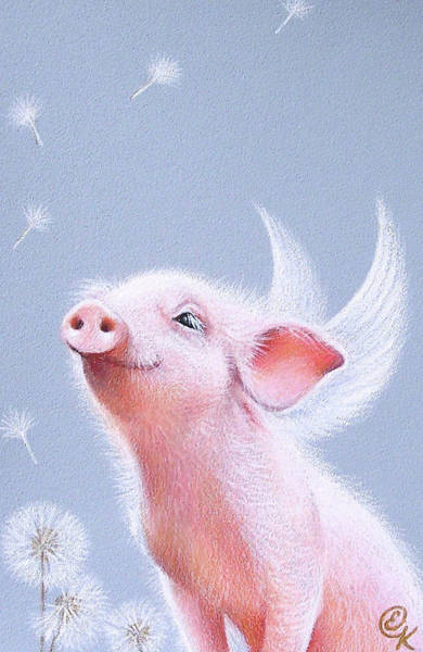 Pig Drawing - Dandelions by Elena Kolotusha