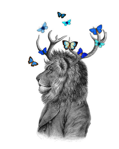 Antlers Digital Art - Dandy Lion With Antlers And Blue Butterflies by Madame Memento