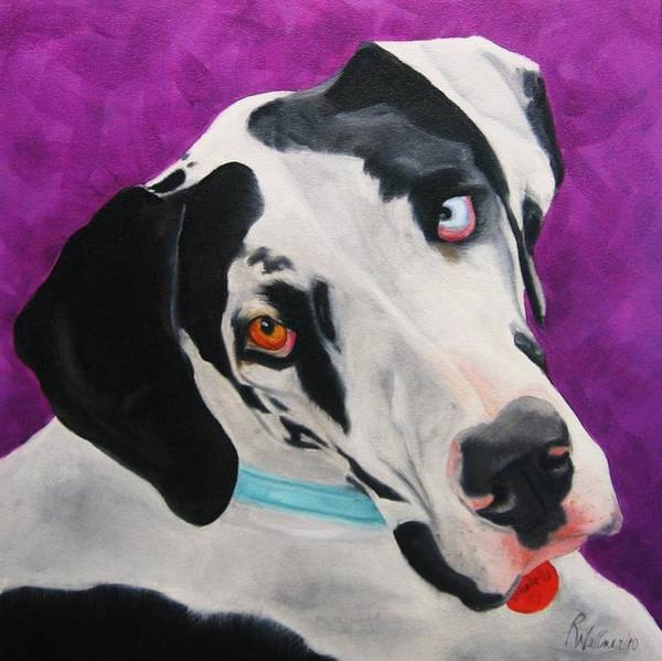 Black Great Dane Painting - Dane by Pet Whimsy  Portraits