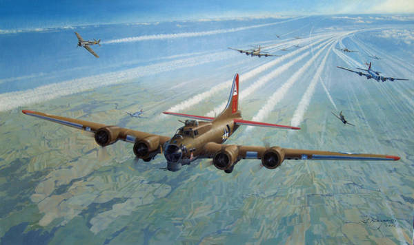 Bomber Painting - Danger Cold Fear And Courage by Steven Heyen
