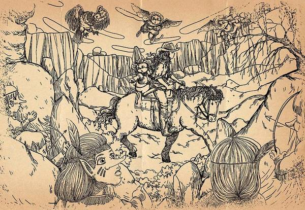 Drawing - Danger In The Pass by Reynold Jay