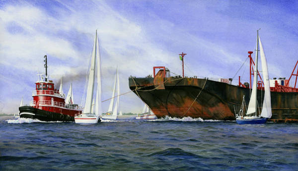Tugboat Wall Art - Painting - Dangerous Race by Marguerite Chadwick-Juner
