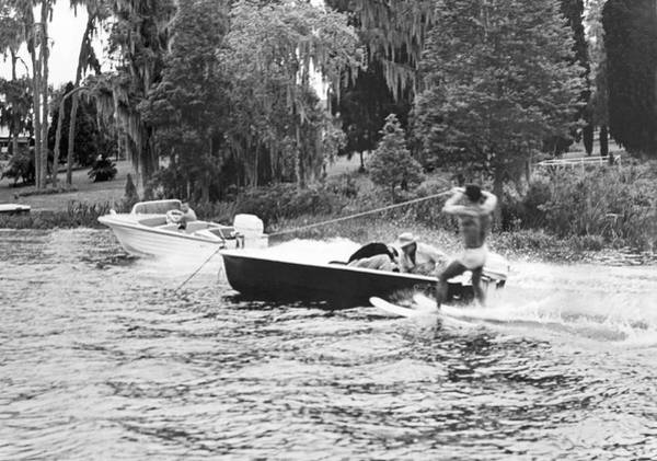 Powerboat Photograph - Dangerous Water Skiing by Underwood Archives