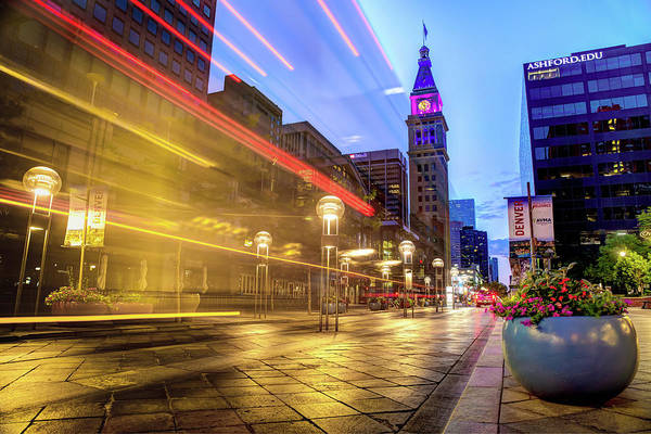 Photograph - Daniel And Fishers Tower Light Beams - Denver Colorado by Gregory Ballos