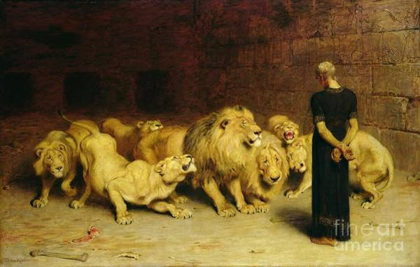 Bite Wall Art - Painting - Daniel In The Lions Den by Briton Riviere