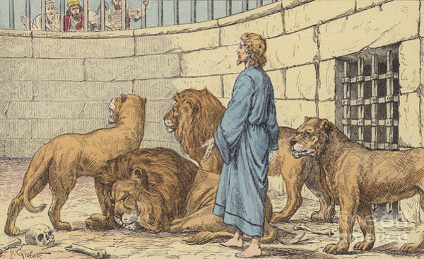 Bible Drawing - Daniel In The Lions' Den by French School