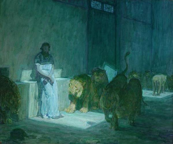Wall Art - Painting - Daniel In The Lions by Henry Ossawa