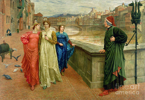 Riverbank Painting - Dante And Beatrice by Henry Holiday