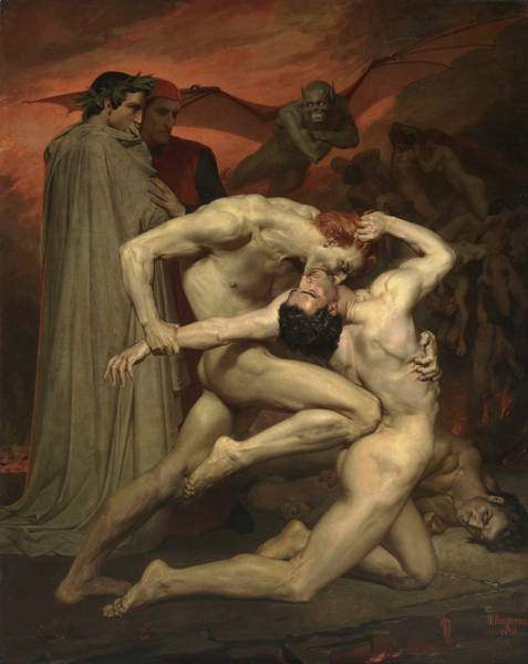 Inferno Painting - Dante And Virgil by Adolphe William Bouguereau