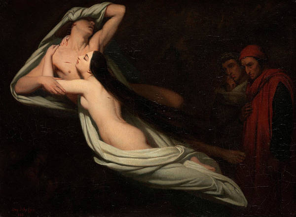 Inferno Painting - Dante And Virgil Meeting The Shades Of Francesca Da Rimini And Paolo by Ary Scheffer