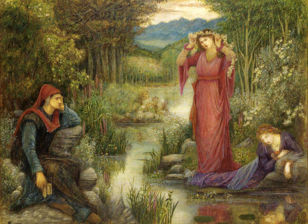 Drawing - Dante's Vision Of Leah And Rachel by Marie Spartali Stillman