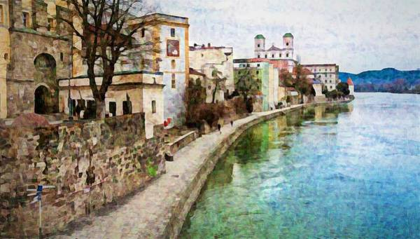 Pyrography - Danube River At Passau, Germany by Tatiana Travelways