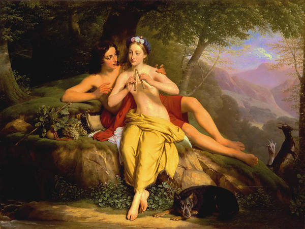Wall Art - Painting - Daphnis And Chloe by Louise Marie-Jeanne Hersent-Mauduit