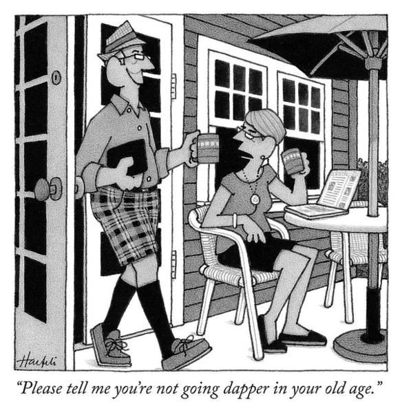 Elderly Drawing - Dapper by William Haefeli