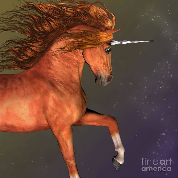 Unicorn Horn Digital Art - Dapple Chestnut Unicorn by Corey Ford