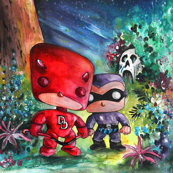 Wall Art - Painting - Funkos Daredevil And The Phantom In The Jungle by Miki De Goodaboom