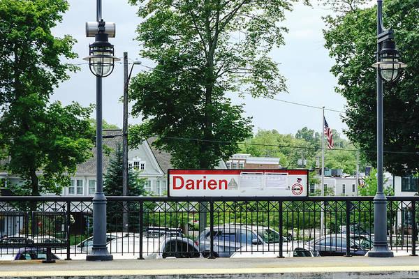 Wall Art - Photograph - Darien Train Station Sign by Sue Schwer