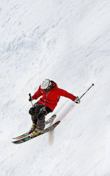 Winter Sports Painting - Daring Skier Flying Down A Steep Slope by Elaine Plesser
