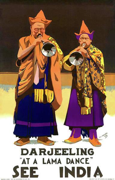 Lama Wall Art - Painting - Darjeeling, Lama Dance Musicians, India by Long Shot