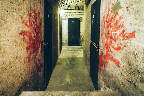 Photograph - Dark And Bloody Basement Corridor   by Alexandre Rotenberg