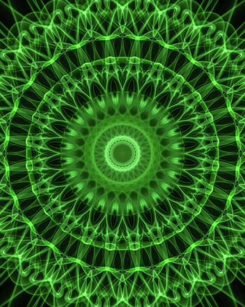 Digital Art - Dark And Light Green Mandala by Jaroslaw Blaminsky