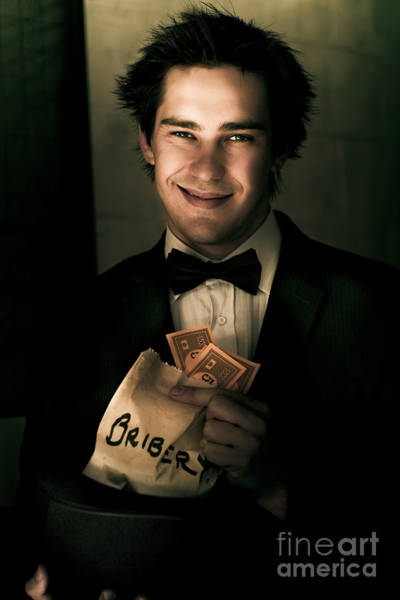 Fraud Photograph - Dark And Shady Man With Money Bribe by Jorgo Photography - Wall Art Gallery