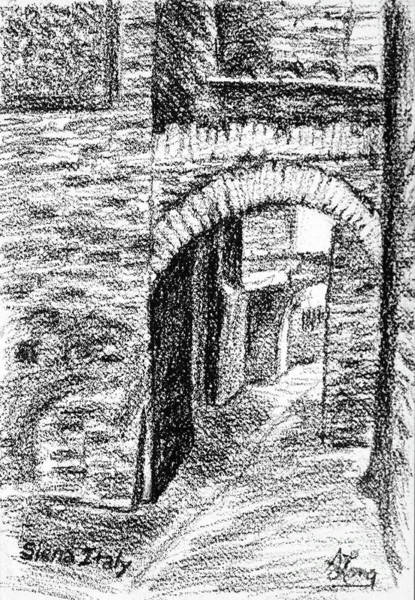 Wall Art - Drawing - Dark Back Street In Siena Italy Conte Drawing by Adam Long