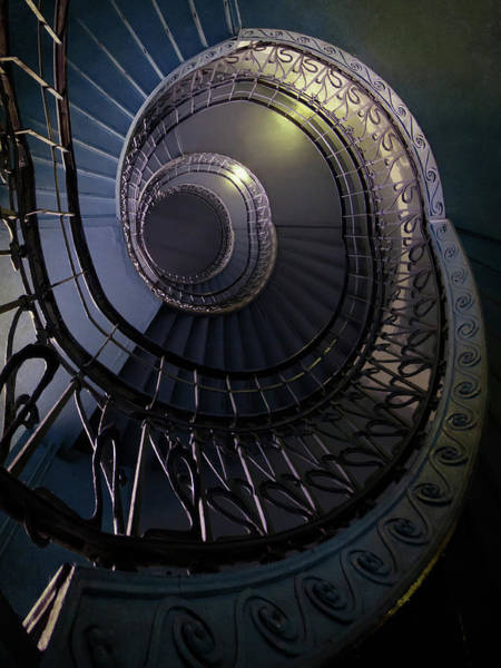 Wall Art - Photograph - Dark Blue Color Spiral Staircase by Jaroslaw Blaminsky