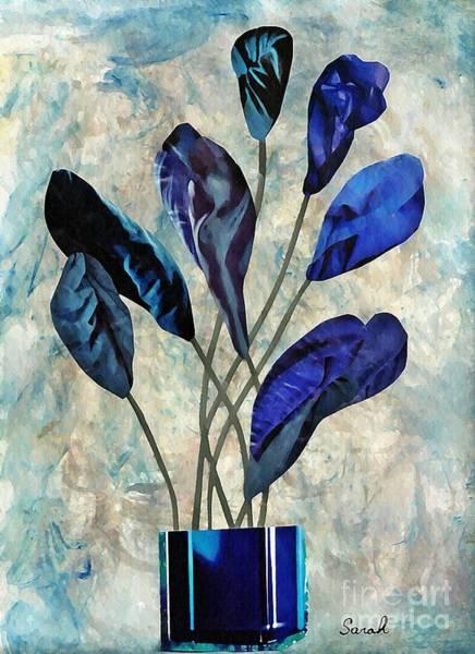 Floral Abstract Mixed Media - Dark Blue by Sarah Loft