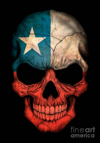 Flag Of Chile Wall Art - Digital Art - Dark Chilean Flag Skull by Jeff Bartels