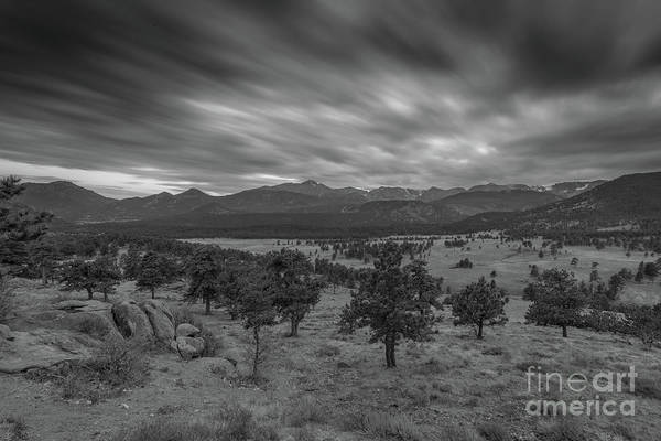 Photograph - Dark Clouds Passing In Rocky Mountains Np Black And White by Michael Ver Sprill