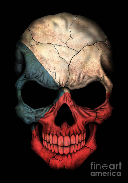 Czech Digital Art - Dark Czech Flag Skull by Jeff Bartels