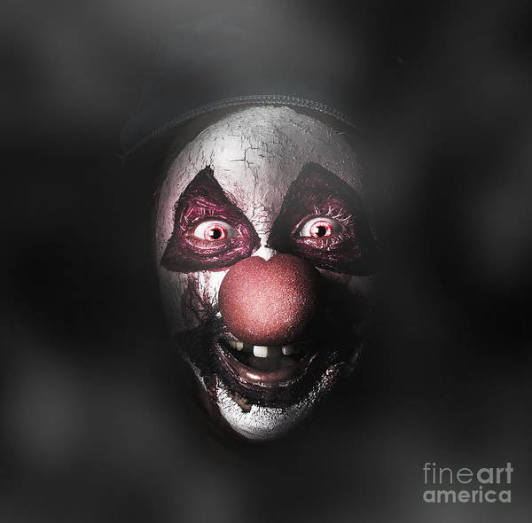Chilling Photograph - Dark Evil Clown Face With Scary Joker Smile by Jorgo Photography - Wall Art Gallery