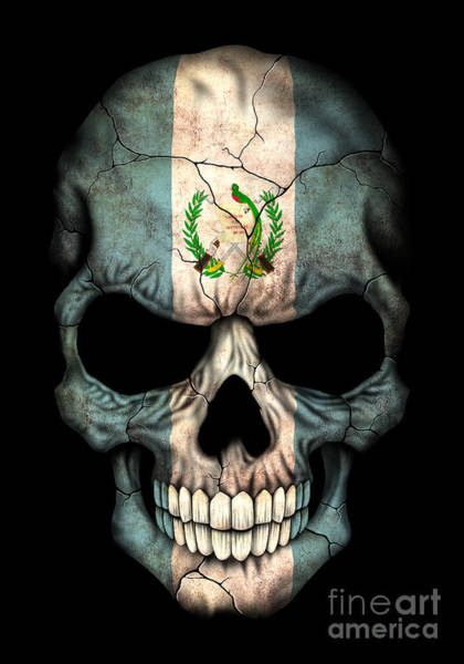 Flag Of Guatemala Digital Art - Dark Guatemalan Flag Skull by Jeff Bartels