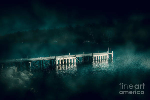 Photograph - Dark Haunting Wooden Pier by Jorgo Photography - Wall Art Gallery