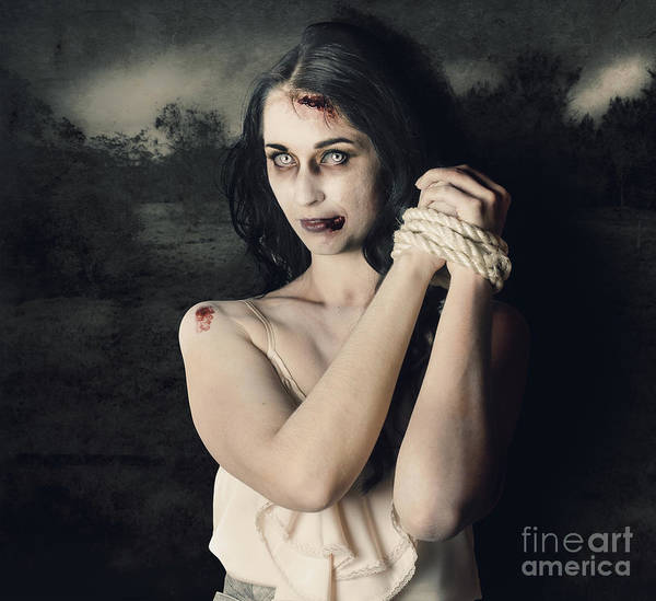 Victim Photograph - Dark Horror Scene Of An Evil Zombie Woman Tied Up by Jorgo Photography - Wall Art Gallery