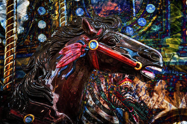 Photograph - Dark Horse Carousel by Michael Arend