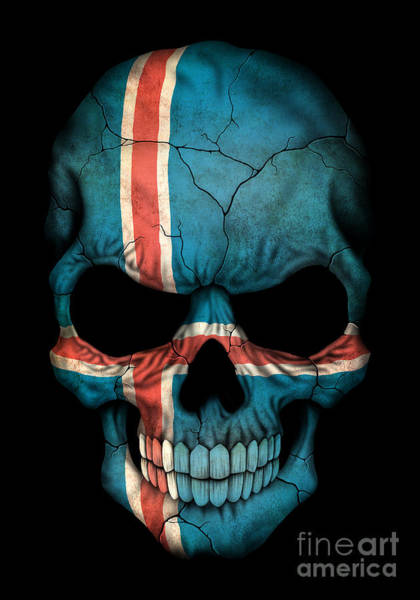 Iceland Digital Art - Dark Icelandic Flag Skull by Jeff Bartels