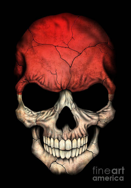 Indonesia Digital Art - Dark Indonesian Flag Skull by Jeff Bartels