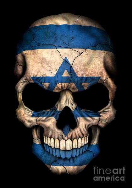 Israel Digital Art - Dark Israeli Flag Skull by Jeff Bartels