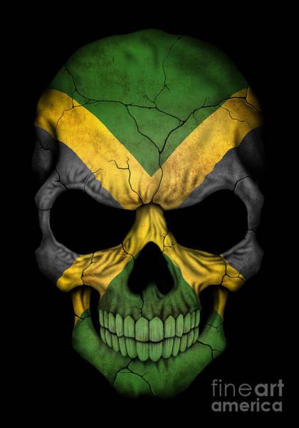 Jamaica Digital Art - Dark Jamaican Flag Skull by Jeff Bartels