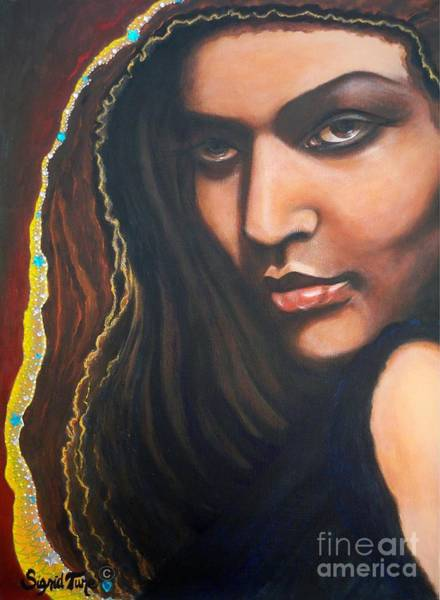 Painting -       Dark Soulful Latin Eyes          From The Attitude Girls by Sigrid Tune