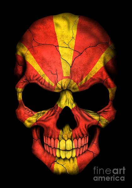 Macedonia Digital Art - Dark Macedonian Flag Skull by Jeff Bartels