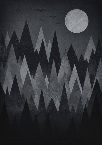 Peak Digital Art - Dark Mystery Abstract Geometric Triangle Peak Woods Black And White by Philipp Rietz